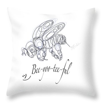 Throw Pillow featuring the drawing Olena Art Tee Design Bee-yoo-tee-ful Drawing by OLena Art Brand