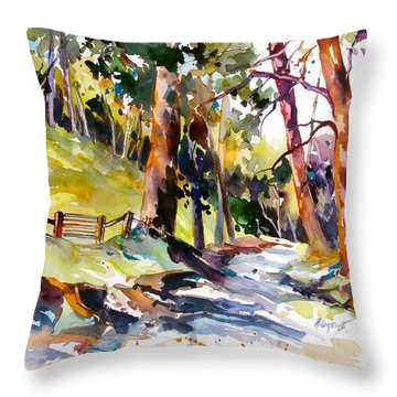 Throw Pillow featuring the painting Olinda Trees Maui 2 by Rae Andrews