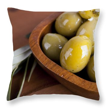 Olive Bowl Throw Pillow by Jane Rix