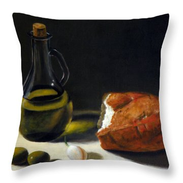 Olive Oil And Bread Throw Pillow
