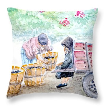 Olive Pickers Throw Pillow