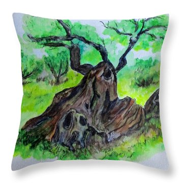 Olive Tree Throw Pillow
