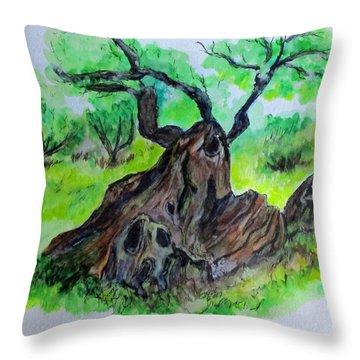 Olive Tree Throw Pillow