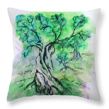 Olive Tree Grove Throw Pillow