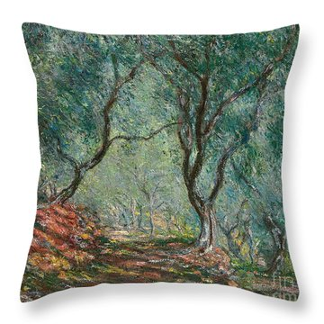 Olive Trees In The Moreno Garden Throw Pillow by Claude Monet
