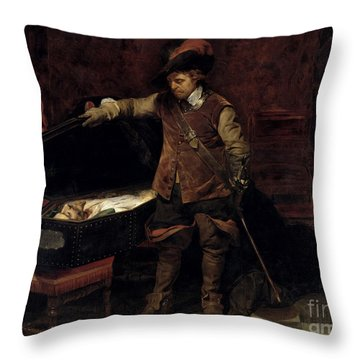 Oliver Cromwell Opening The Coffin Of Charles I  Throw Pillow by Hippolyte Delaroche