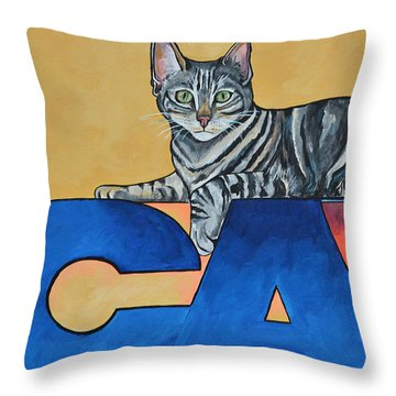 Throw Pillow featuring the painting Oliver by Patti Schermerhorn
