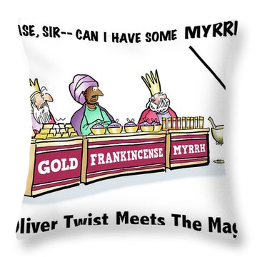 Throw Pillow featuring the digital art Oliver Wants Some Myrrh by Mark Armstrong