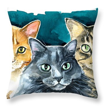 Oliver, Willow And Walter - Cat Painting Throw Pillow