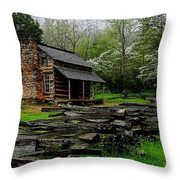 Oliver's Cabin Among The Dogwood Of The Great Smoky Mountains National Park Throw Pillow