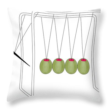 Olives And Toothpick On Newtons Cradle Throw Pillow