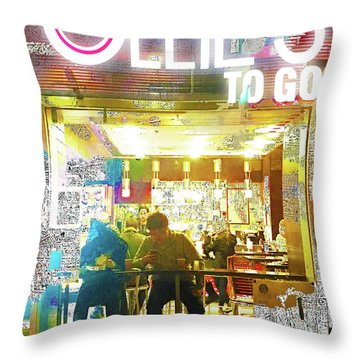 Throw Pillow featuring the mixed media Ollie's by Tony Rubino