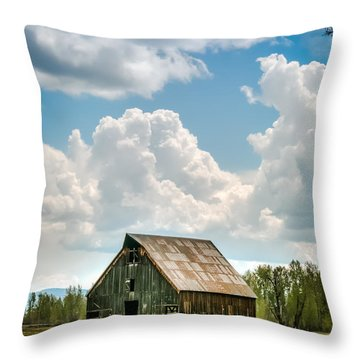 Olsen Barn In Blue Throw Pillow by Jan Davies