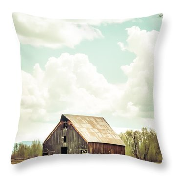 Olsen Barn In Green Throw Pillow by Jan Davies