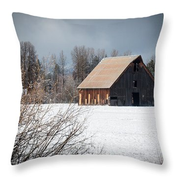 Olsen Barn In Snow Throw Pillow