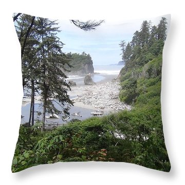 Olympic National Park Beach Throw Pillow by Tony Mathews