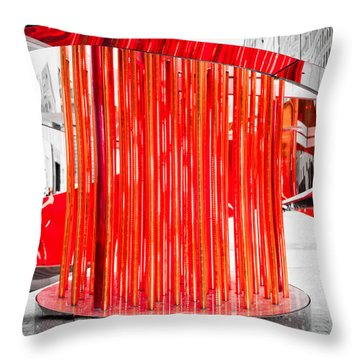 Olympic Neon Flame Throw Pillow