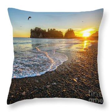 Olympic Peninsula Sunset Throw Pillow