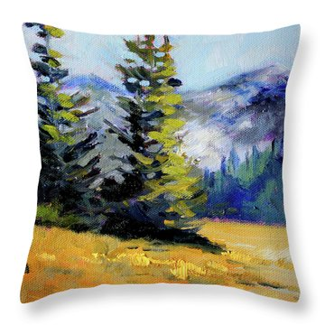 Throw Pillow featuring the painting Olympic Range by Nancy Merkle