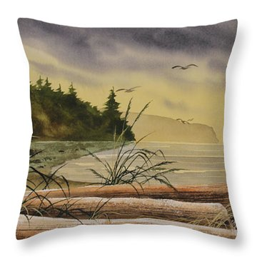 Throw Pillow featuring the painting Olympic Seashore Sunset by James Williamson