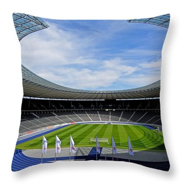 Olympic Stadium Berlin Throw Pillow by Juergen Weiss