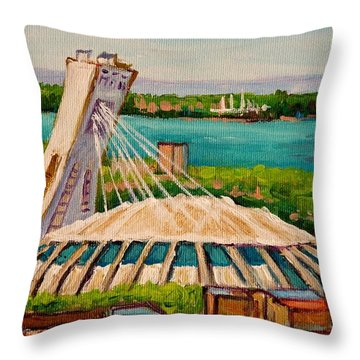 Olympic Stadium  Montreal Throw Pillow by Carole Spandau