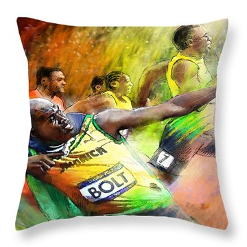 Olympics 100 M Gold Medal Usain Bolt Throw Pillow