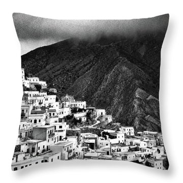 Olympos. Karpathos Island Greece Throw Pillow by Silvia Ganora