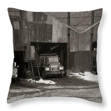 Olyphant Pa Coal Breaker Loading Trucks And Gondola Car Winter 1971 Throw Pillow