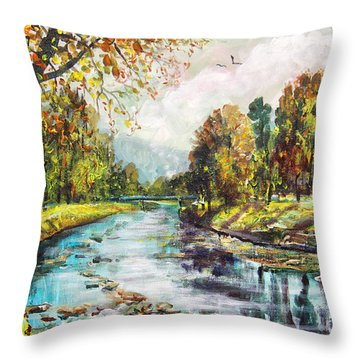 Olza River Throw Pillow