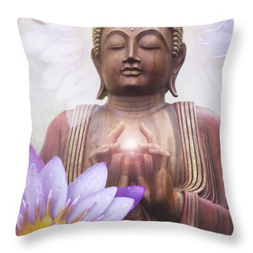Om Mani Padme Hum - Buddha Lotus Throw Pillow