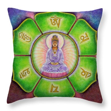 Om Mani Padme Hum Kuan Yin Throw Pillow