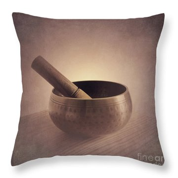 Throw Pillow featuring the photograph Om Singing Bowl by Chris Scroggins