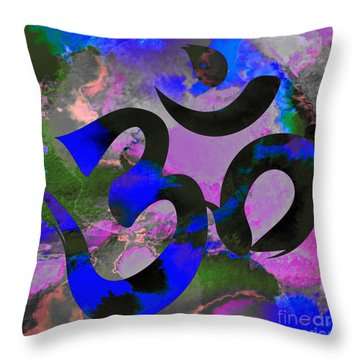 Om Symbol, Black, Blue And Purple Throw Pillow