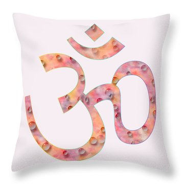 Throw Pillow featuring the painting Om Symbol Digital Painting by Georgeta Blanaru