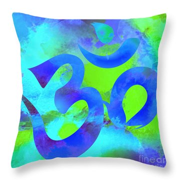 Om Symbol, Green And Blue Throw Pillow