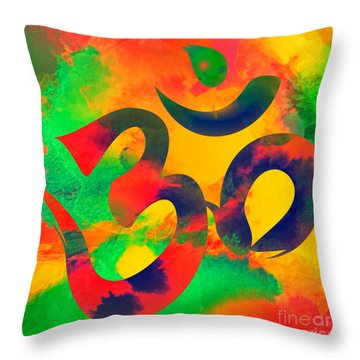 Om Symbol, Green, Yellow And Orange Multicolor Throw Pillow