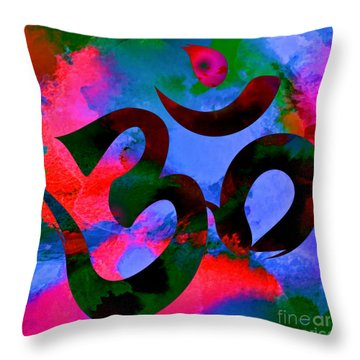 Om Symbol, Hot Pink And Blue Throw Pillow