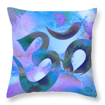 Om Symbol, Light Blue And Purple Pastel Throw Pillow