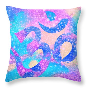 Om Symbol, Light Pink And Blue Pastels, 3d Water Mist Throw Pillow