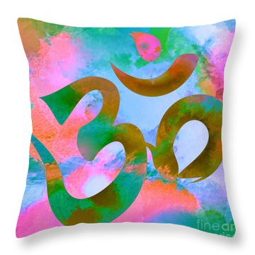 Om Symbol, Pastel Pink,blue And Green Throw Pillow