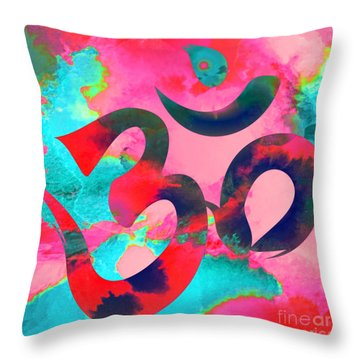 Om Symbol, Pink And Blue Throw Pillow