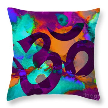 Om Symbol, Purple, Orange And Light Blue Throw Pillow