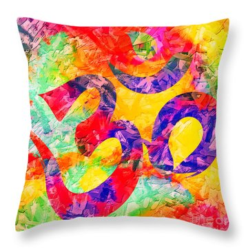 Om Symbol Rainbow 3d Texture Throw Pillow