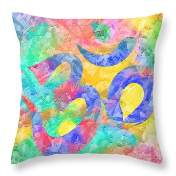 Om Symbol Rainbow Pastels 3d Throw Pillow