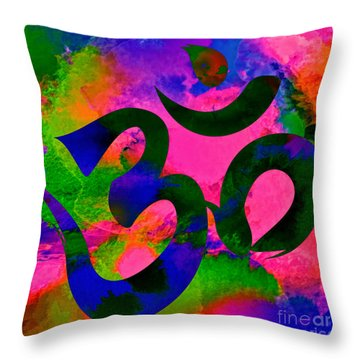 Om Symbol, Rainbow, Ver2 Throw Pillow