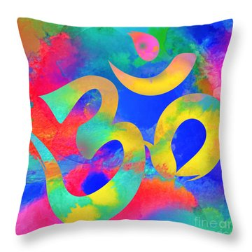 Om Symbol, Rainbow. Ver3 Throw Pillow