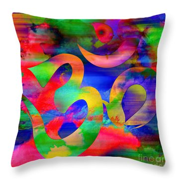 Om Symbol, Rainbow, Ver4 Throw Pillow
