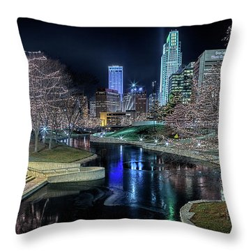 Omaha Holiday Lights Festival Throw Pillow
