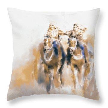 Omani Horse Riders 669 2 Throw Pillow